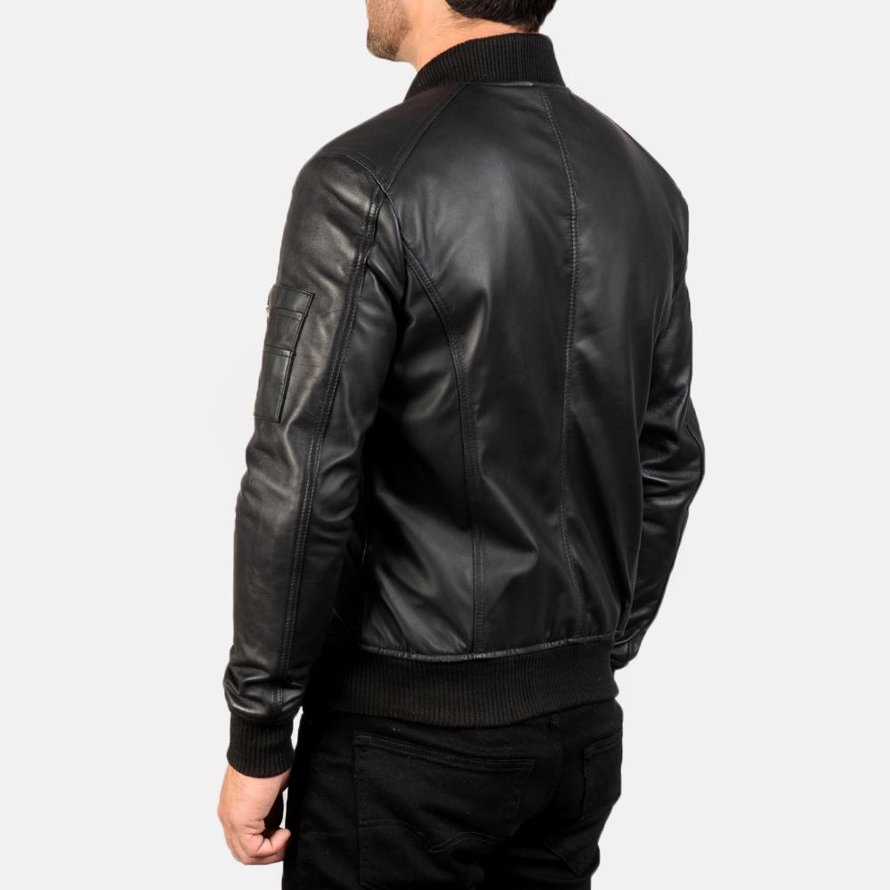 Men's Bomia Ma-1 Black Leather Bomber Jacket 5
