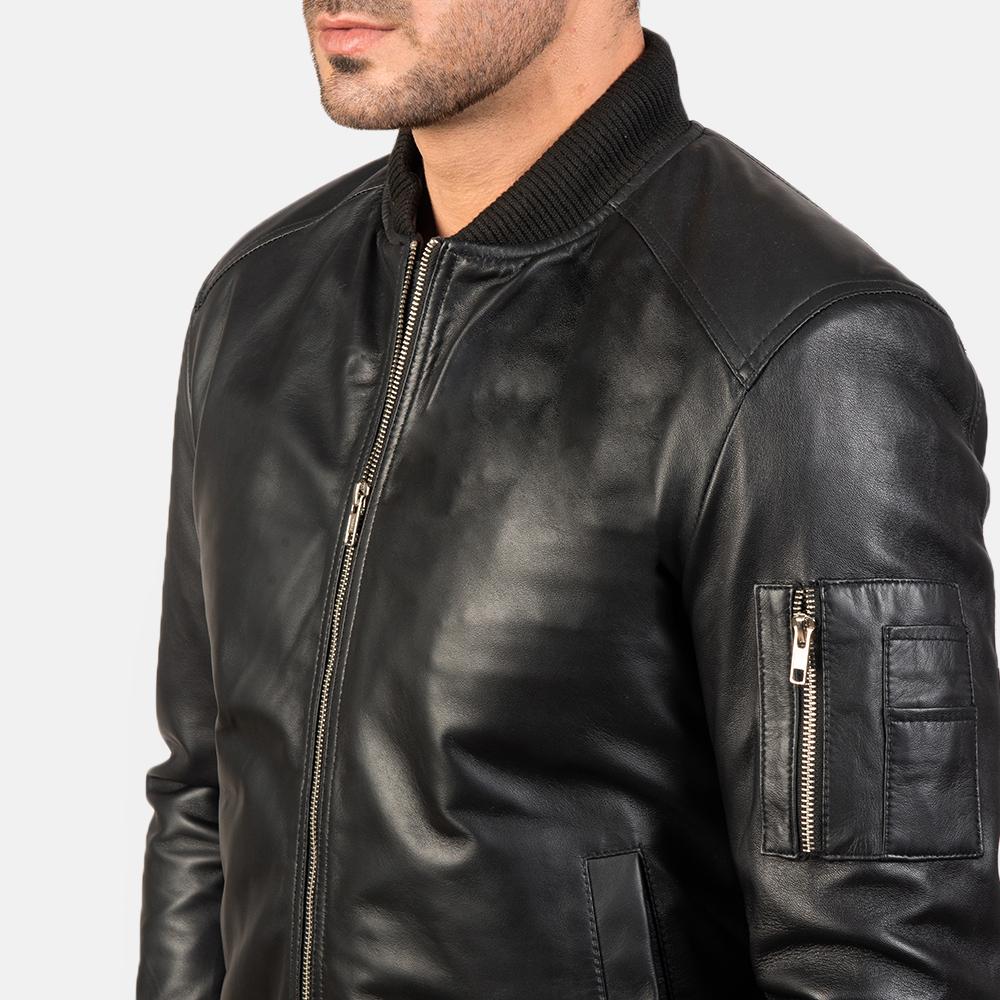 Men's Bomia Ma-1 Black Leather Bomber Jacket 6