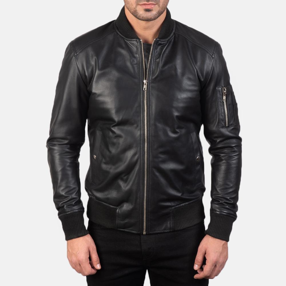 Men's Bomia Ma-1 Black Leather Bomber Jacket 4
