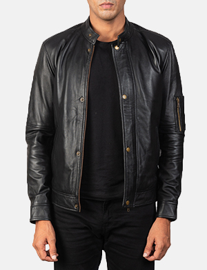 Mens Tea House Black Leather Biker Jacket