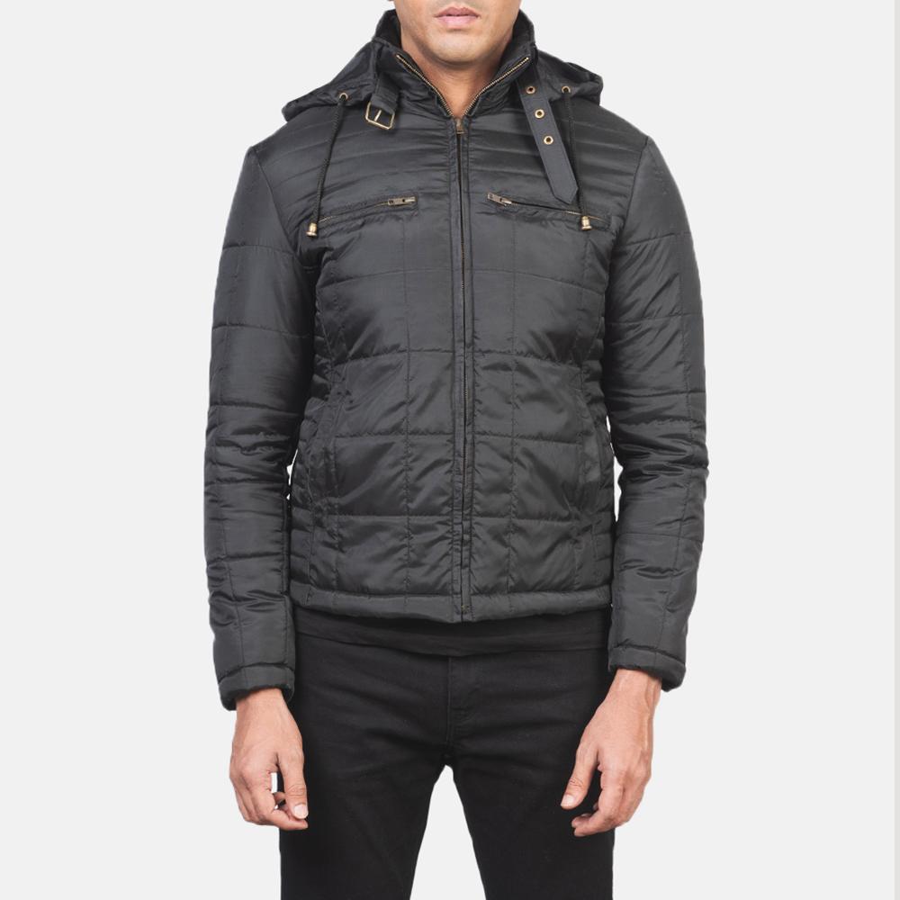 Men's Alps Quilted Black Windbreaker Jacket 4