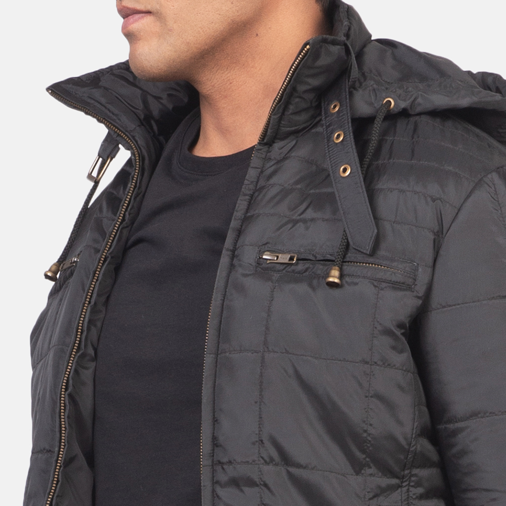Men's Alps Quilted Black Windbreaker Jacket 6