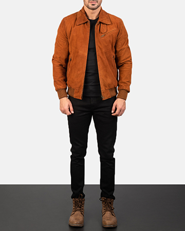 Men's Tomchi Tan Suede Leather Jacket 1