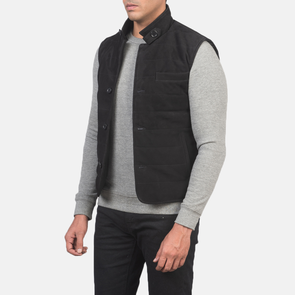 Men's Tony Black Suede Vest 2