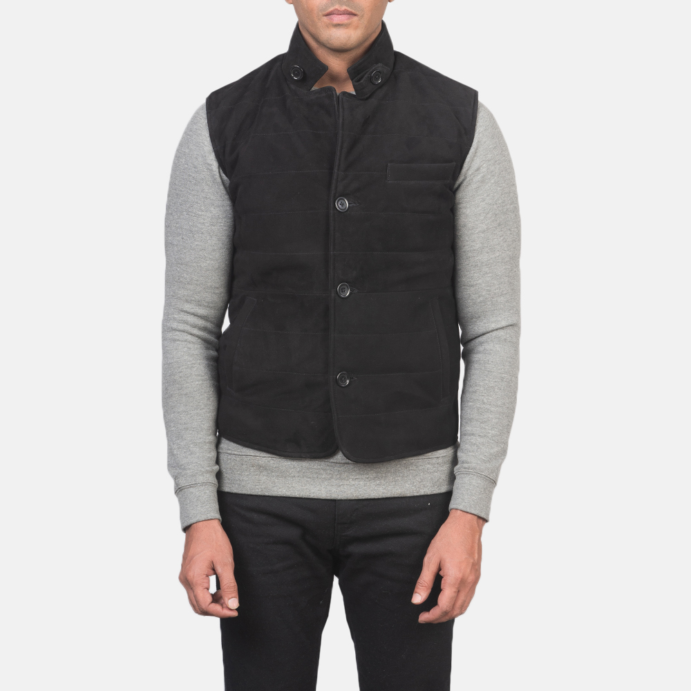 Men's Tony Black Suede Vest 4
