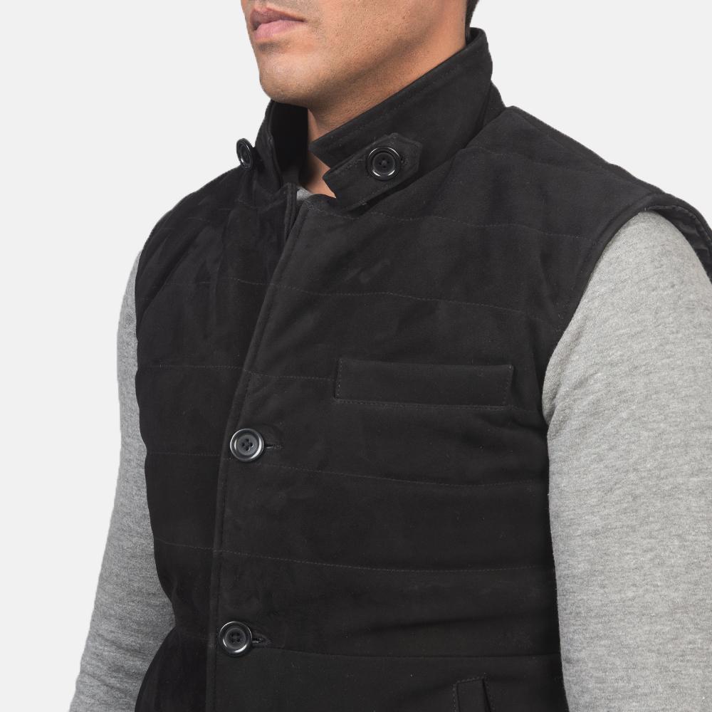 Men's Tony Black Suede Vest 6