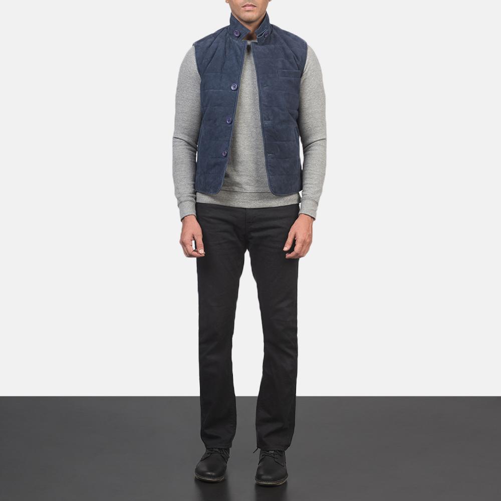 Men's Tony Blue Suede Vest 1