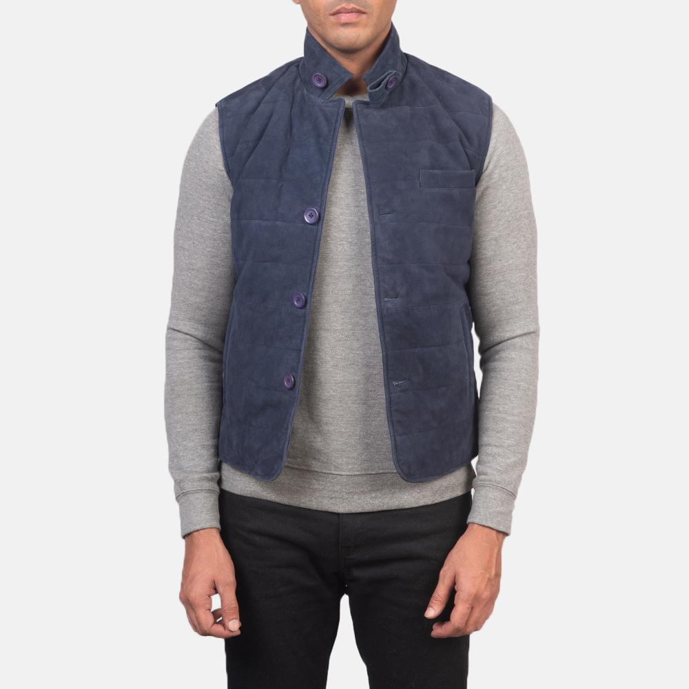 Men's Tony Blue Suede Vest 3