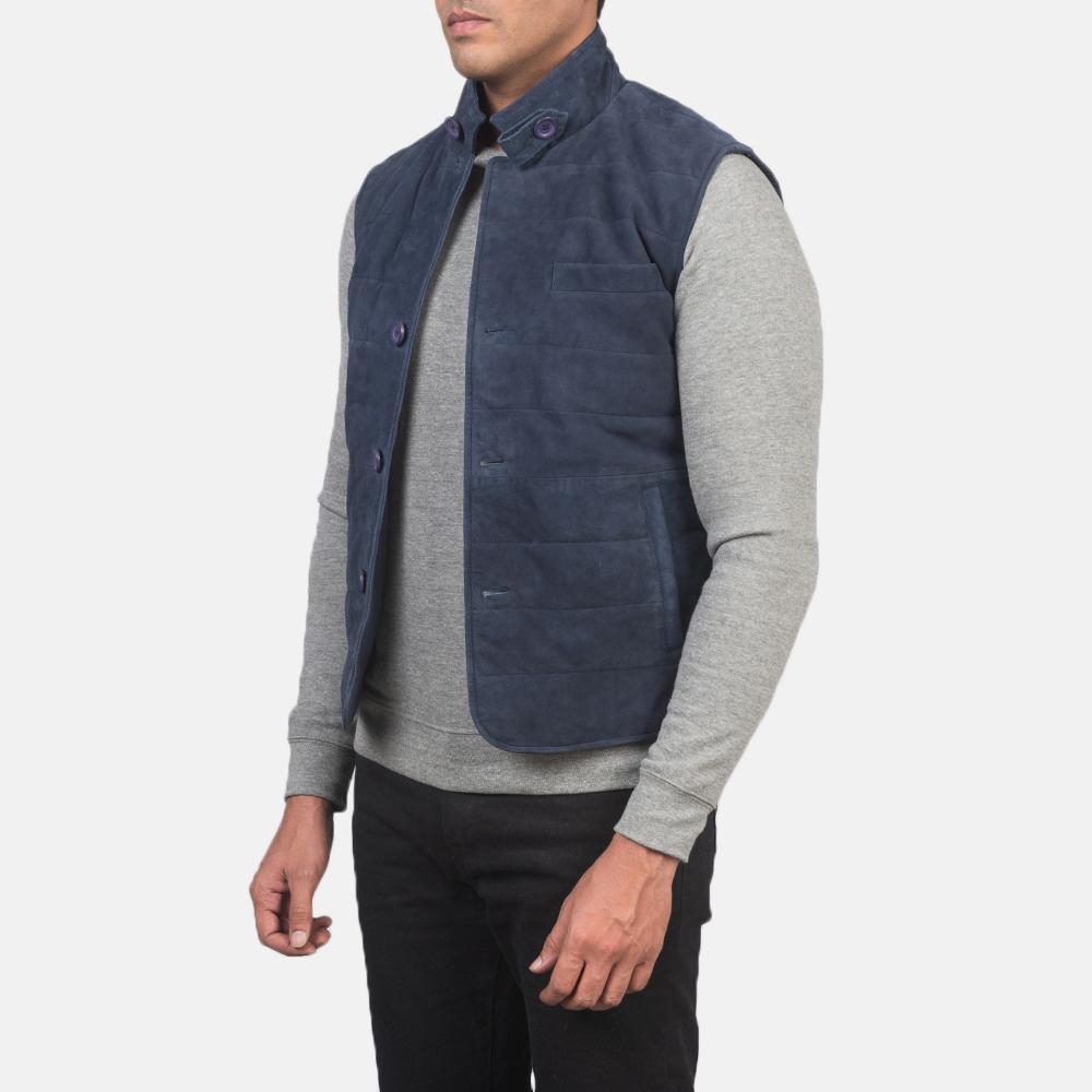 Men's Tony Blue Suede Vest 2