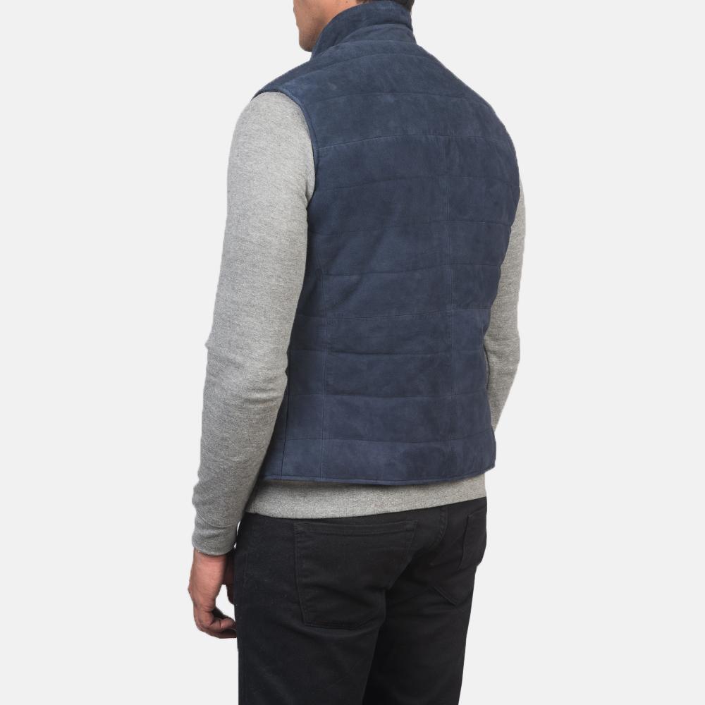 Men's Tony Blue Suede Vest 5
