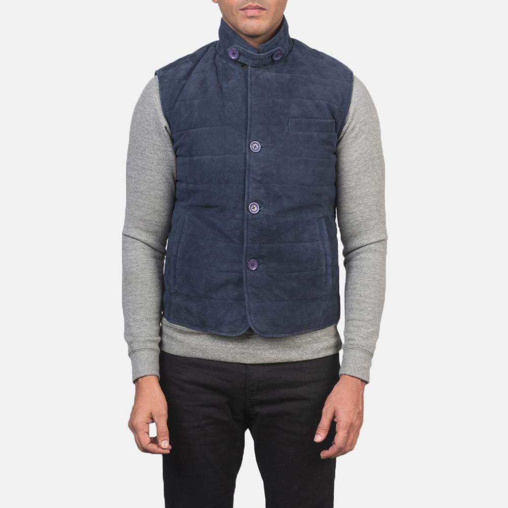 Men's Tony Blue Suede Vest 4