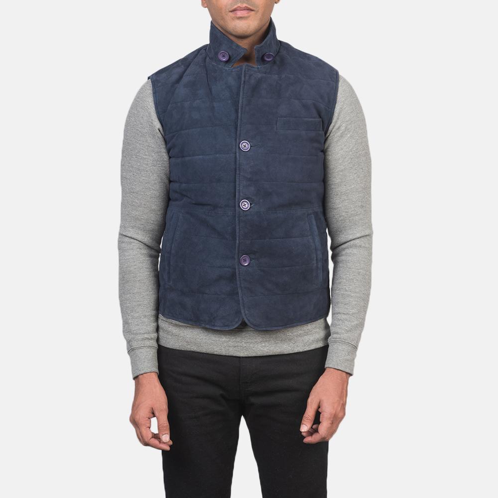 Men's Tony Blue Suede Vest 6