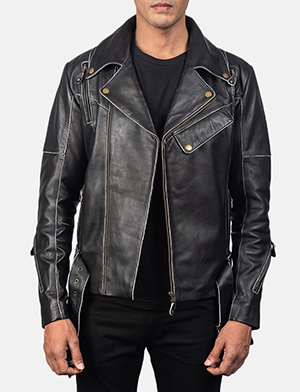Men's Vincent Black Leather Biker Jacket