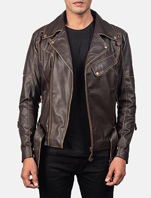 Men's Vincent Brown Leather Biker Jacket