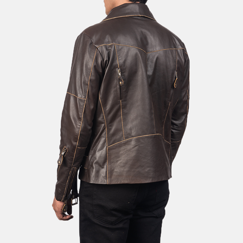 Men's Vincent Brown Leather Biker Jacket