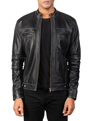 Men's Youngster Black Leather Biker Jacket