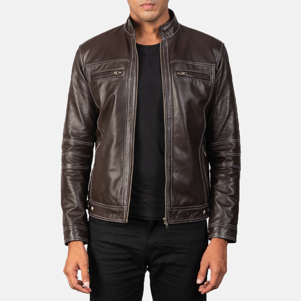 Men's Youngster Brown Leather Biker Jacket