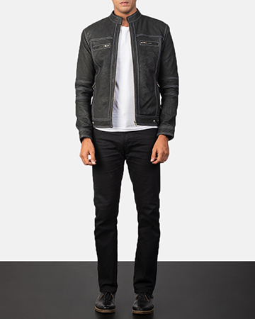 Men's Youngster Distressed Black Leather Biker Jacket 1