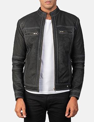 Men's Youngster Distressed Black Leather Biker Jacket