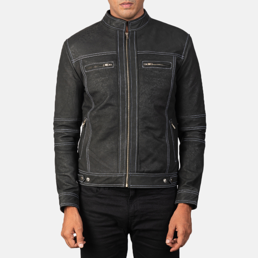 Men's Youngster Distressed Black Leather Biker Jacket