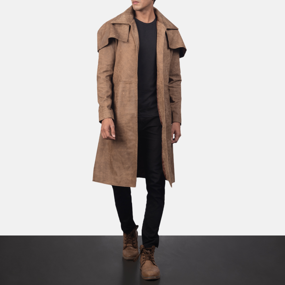 Men's Classic Brown Leather Duster 6