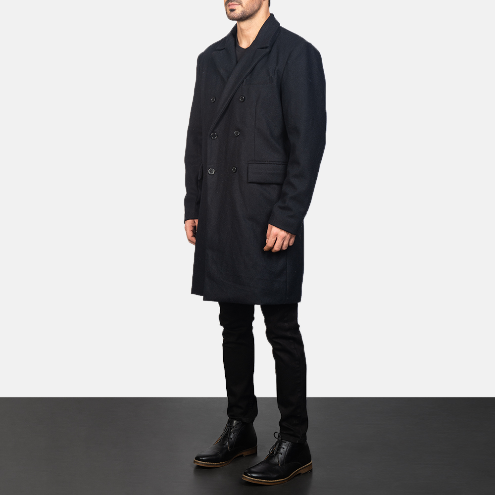 Men's Claud Black Wool Double Breasted Coat 2