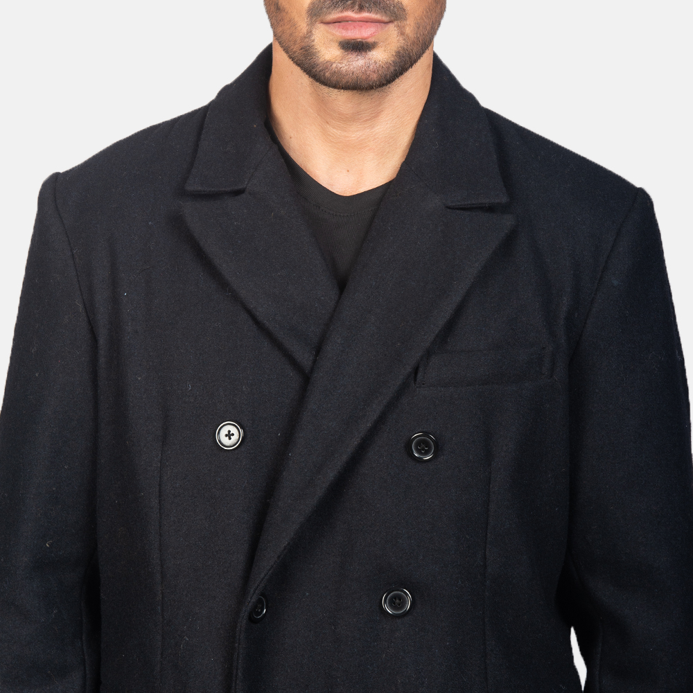 Men's Claud Black Wool Double Breasted Coat 6