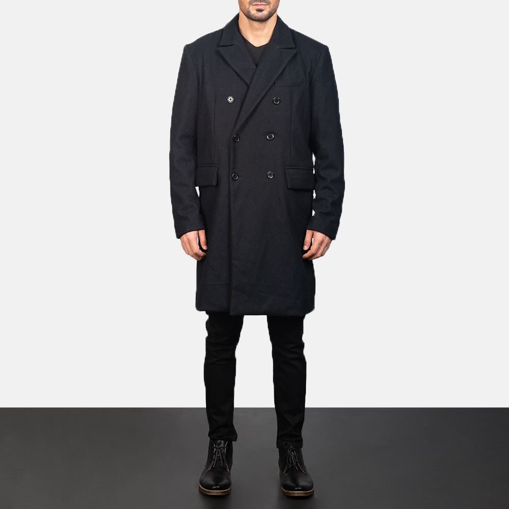 Men's Claud Black Wool Double Breasted Coat 3