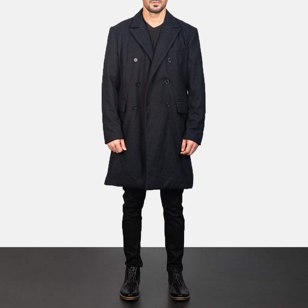 Men's Claud Black Wool Double Breasted Coat 4