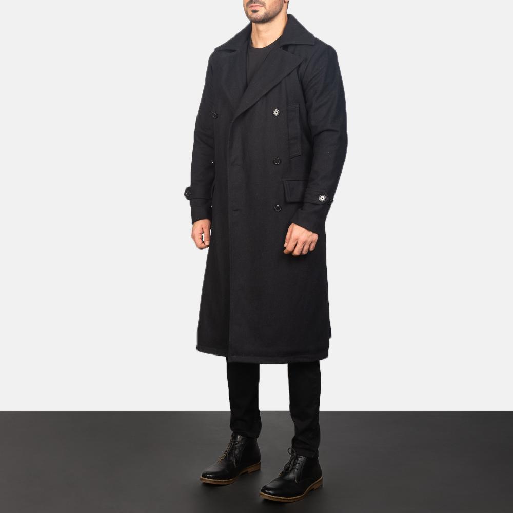 Men's Detective Black Wool Coat 2