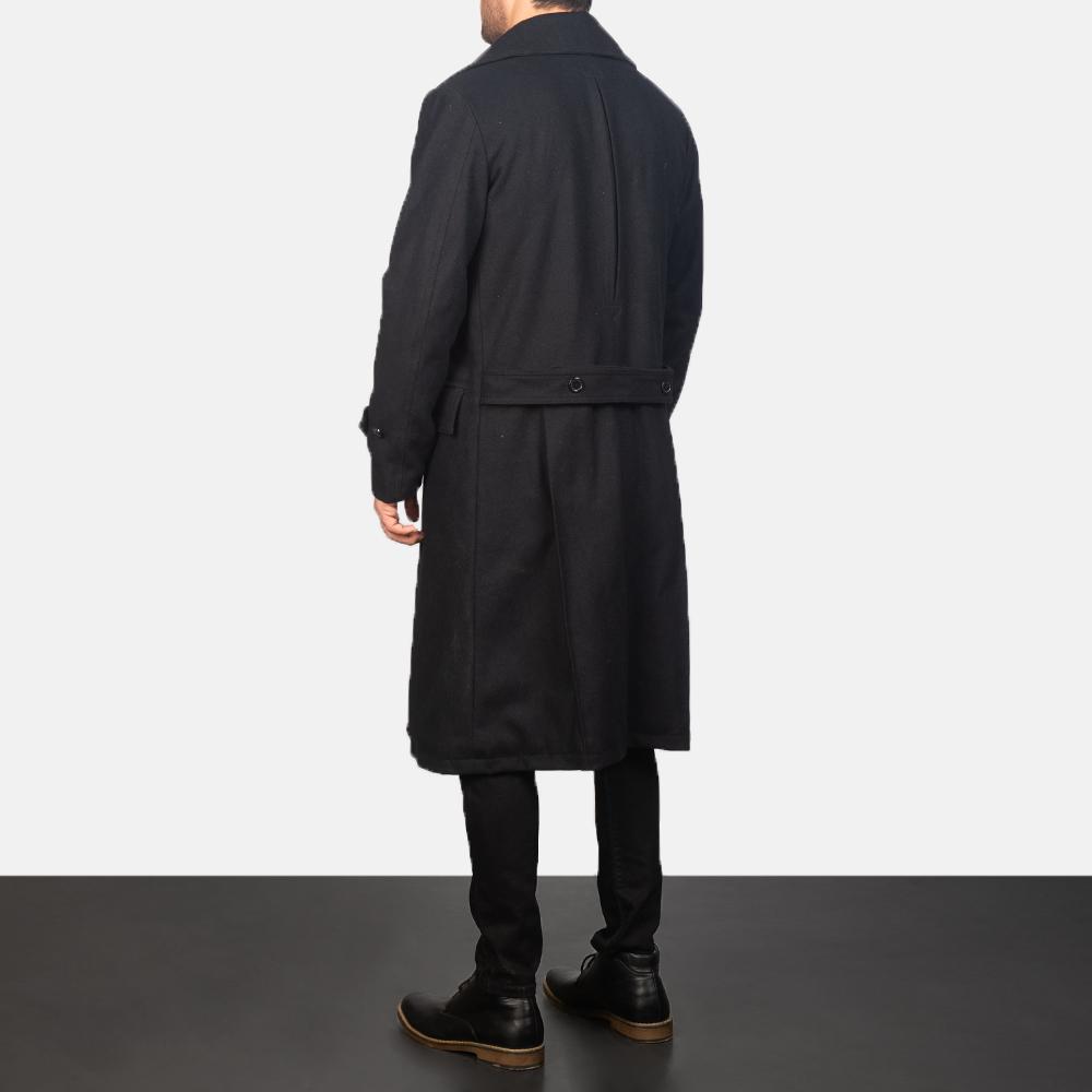 Men's Detective Black Wool Coat 3
