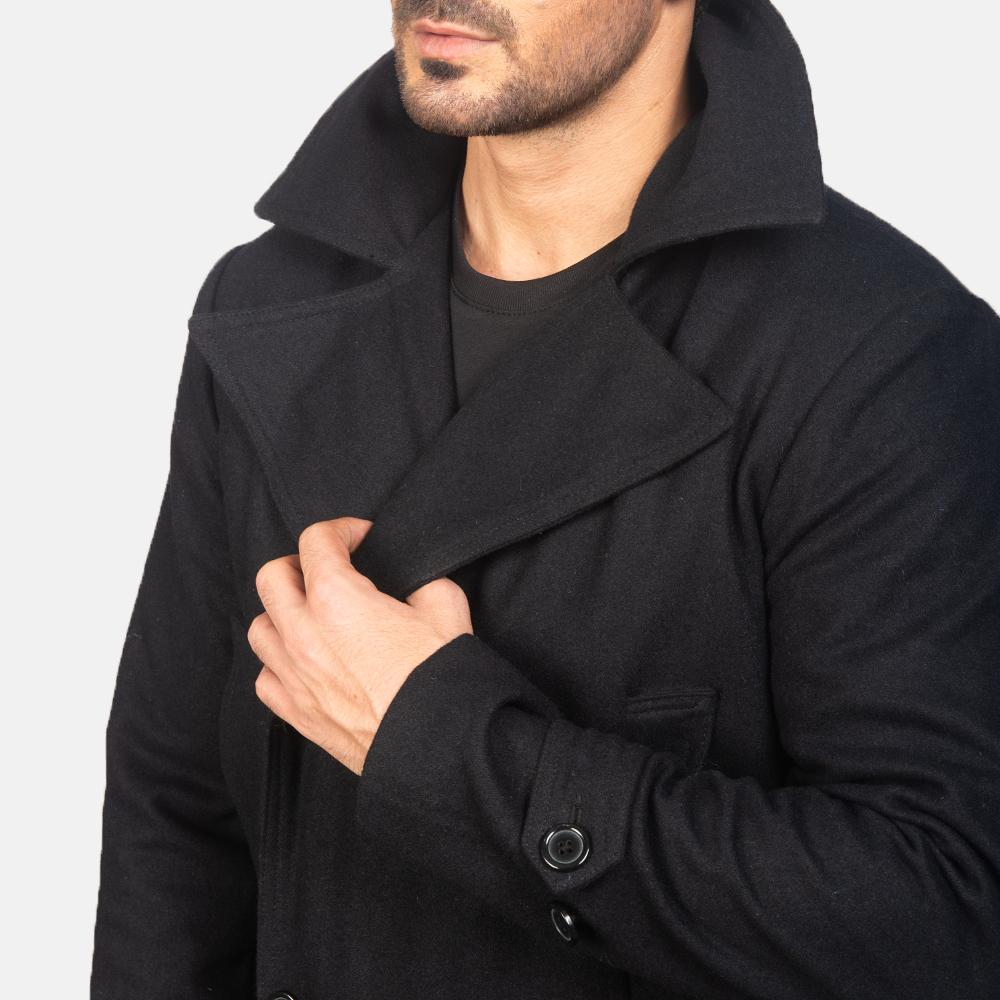 Men's Detective Black Wool Coat 6
