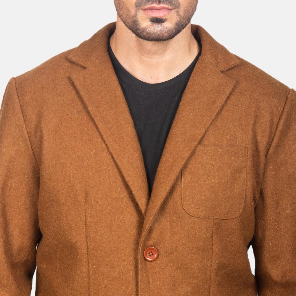 Men's Khaki Wool Blazer 6