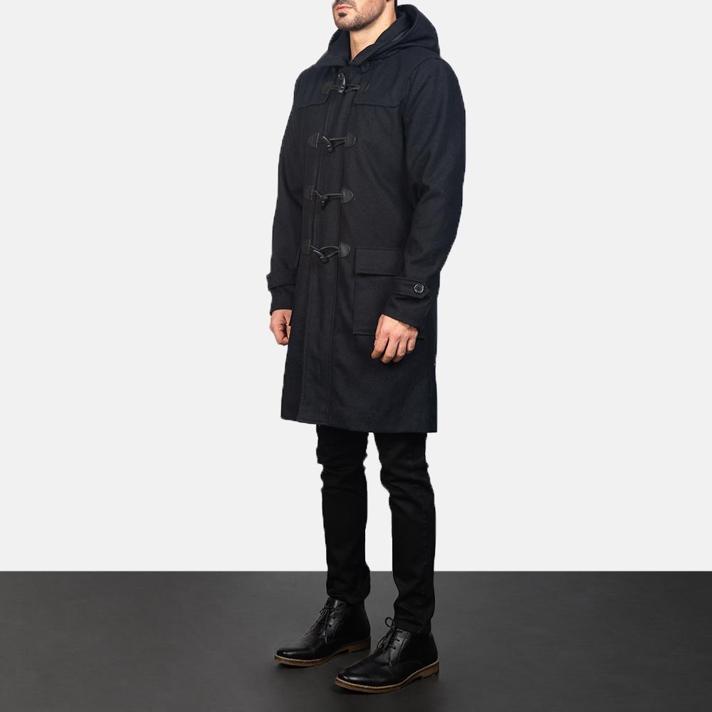 Men's Black Wool Duffle Coat 2
