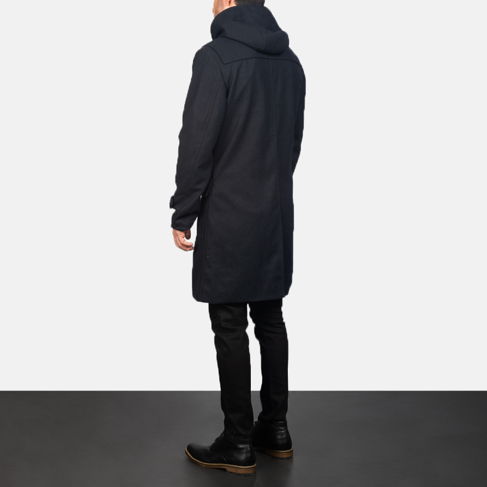 Men's Black Wool Duffle Coat 5