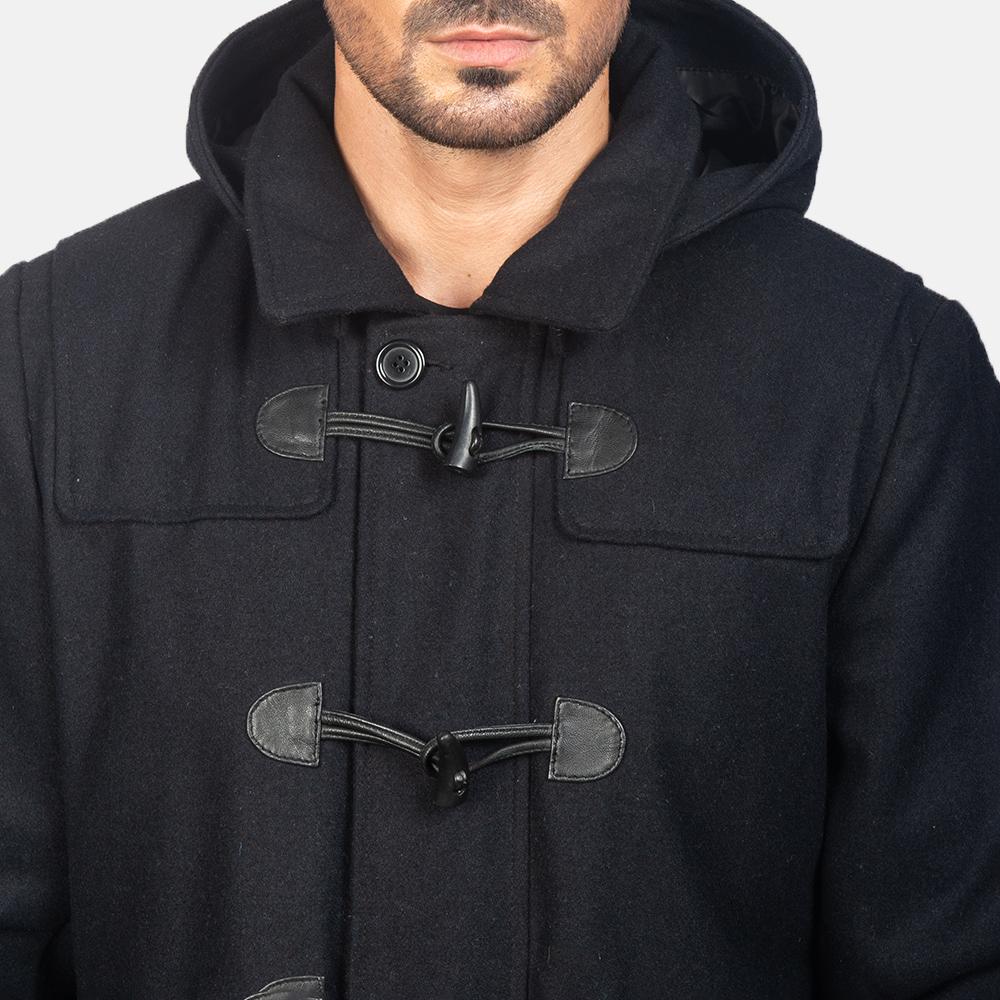 Men's Black Wool Duffle Coat 6
