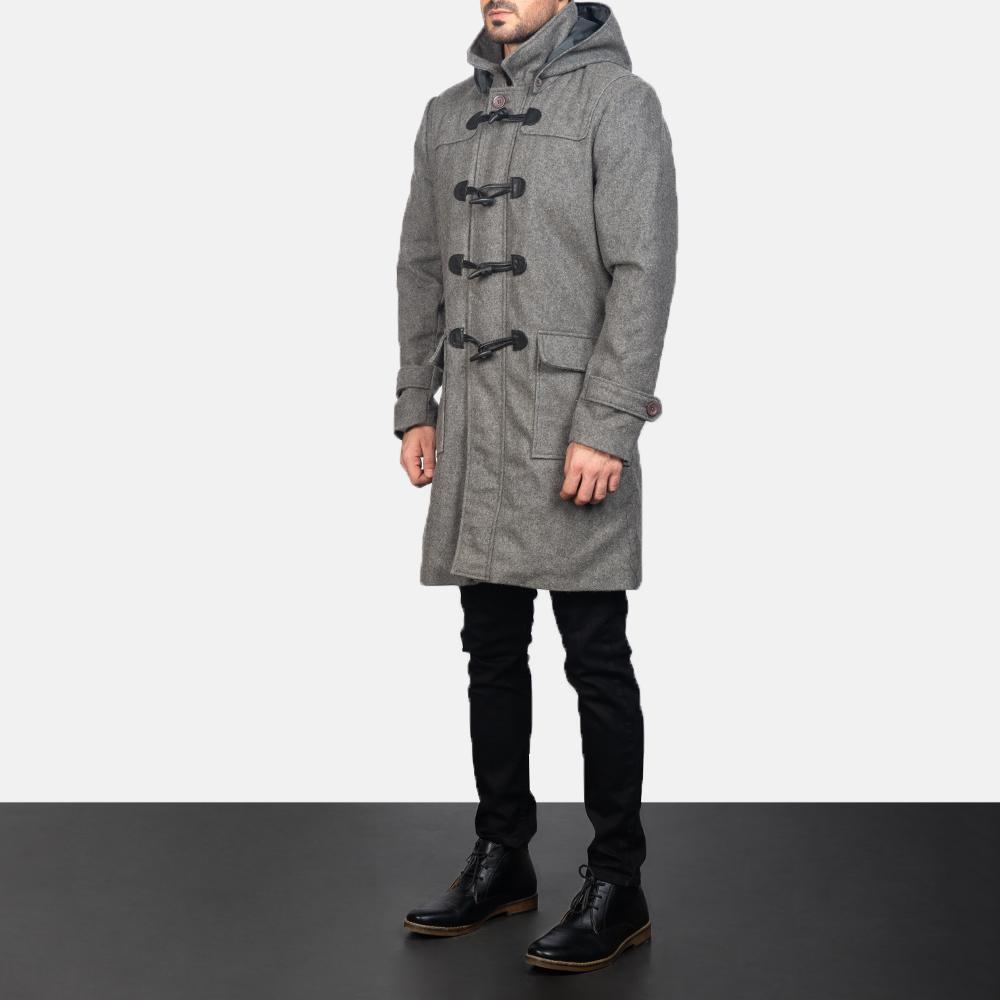 Men's Grey Wool Duffle Coat 2