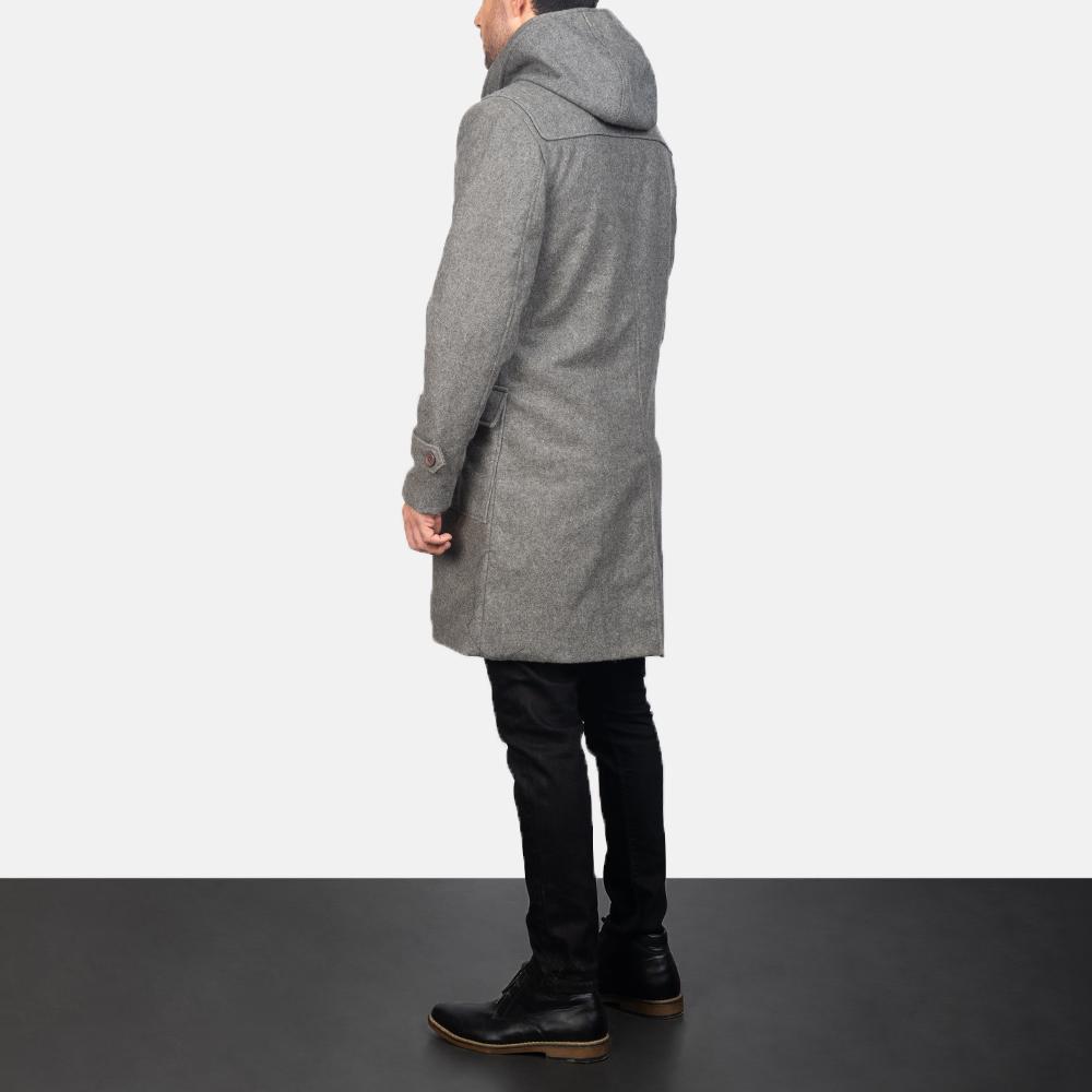 Men's Grey Wool Duffle Coat 5