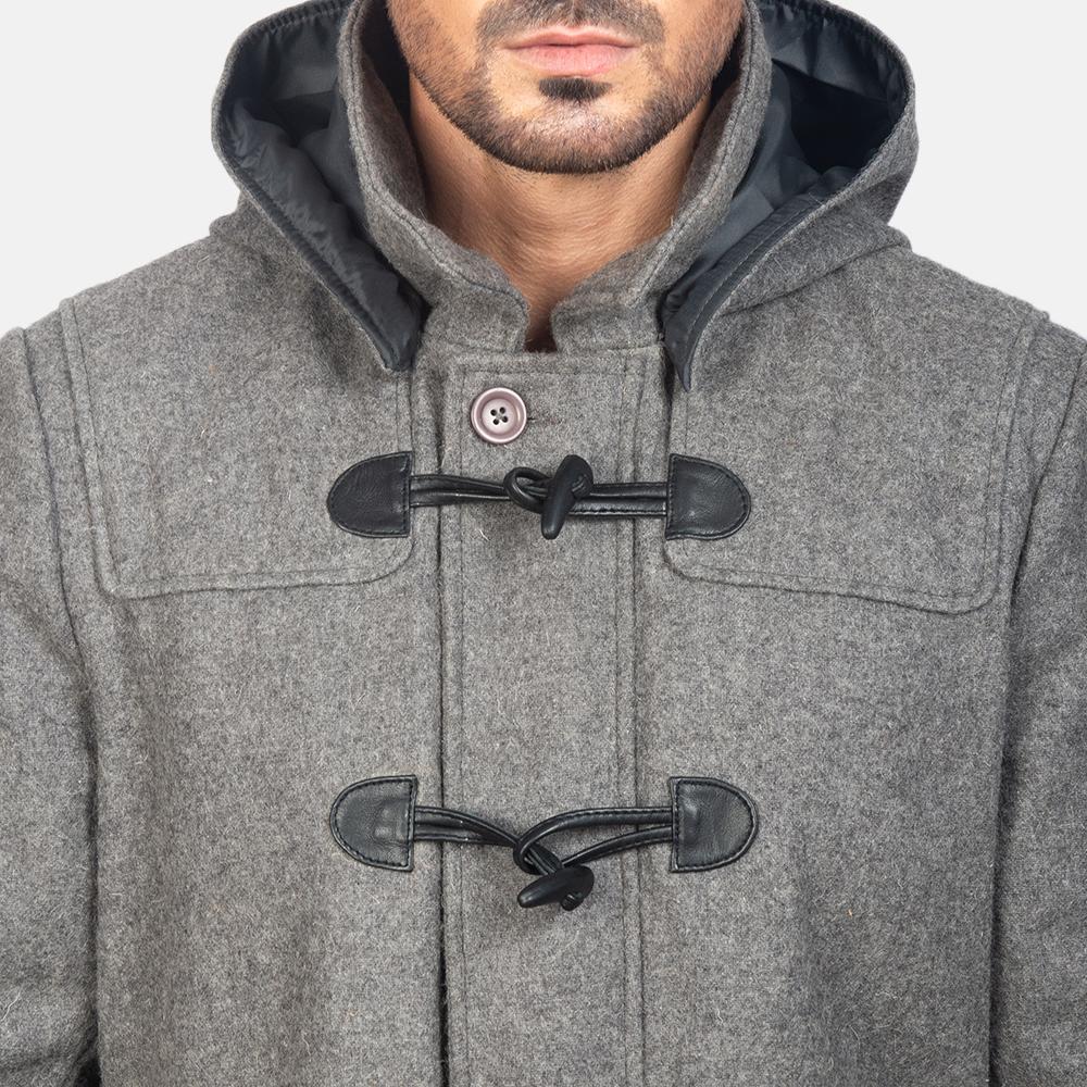 Men's Grey Wool Duffle Coat 6