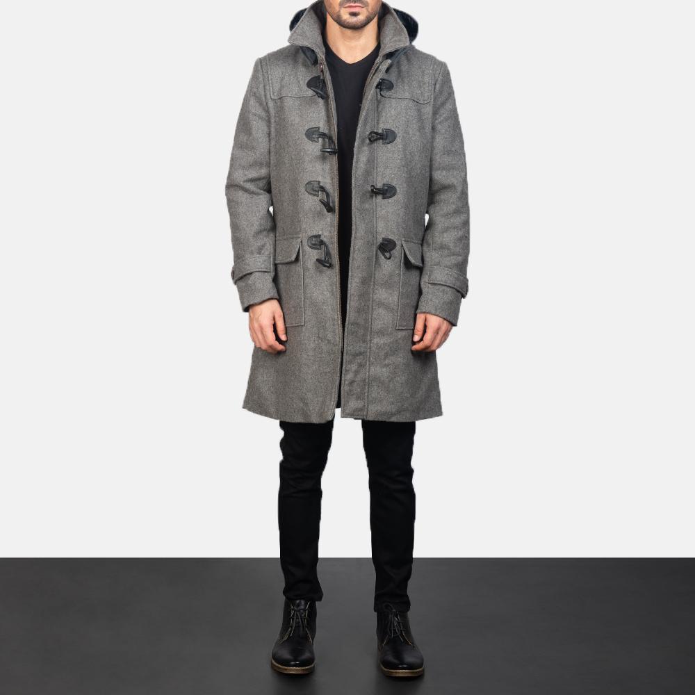 Men's Grey Wool Duffle Coat 3