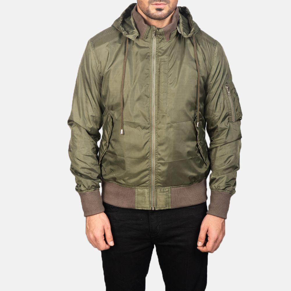 Men's Green Hooded Bomber Jacket 4