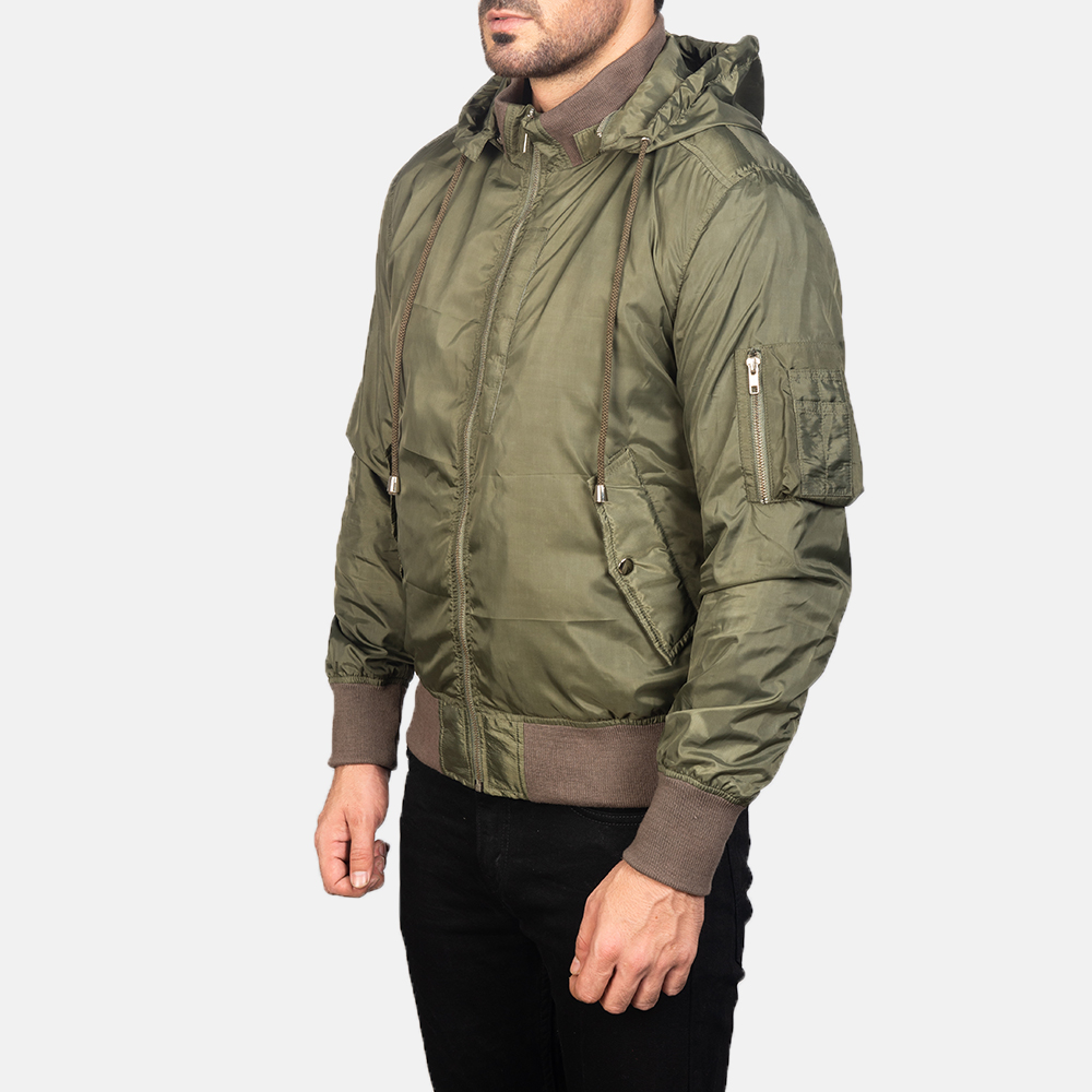Men's Green Hooded Bomber Jacket 2