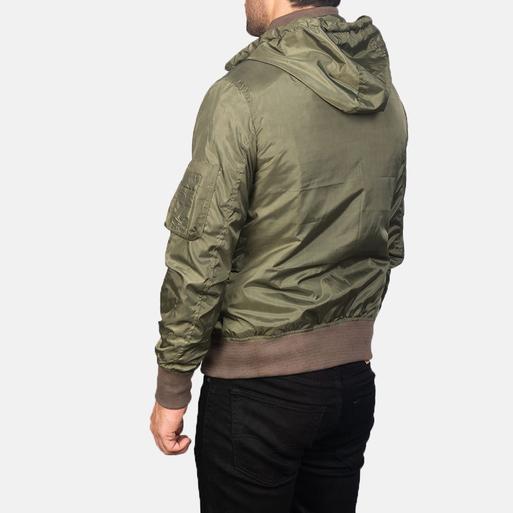 Men's Green Hooded Bomber Jacket 5