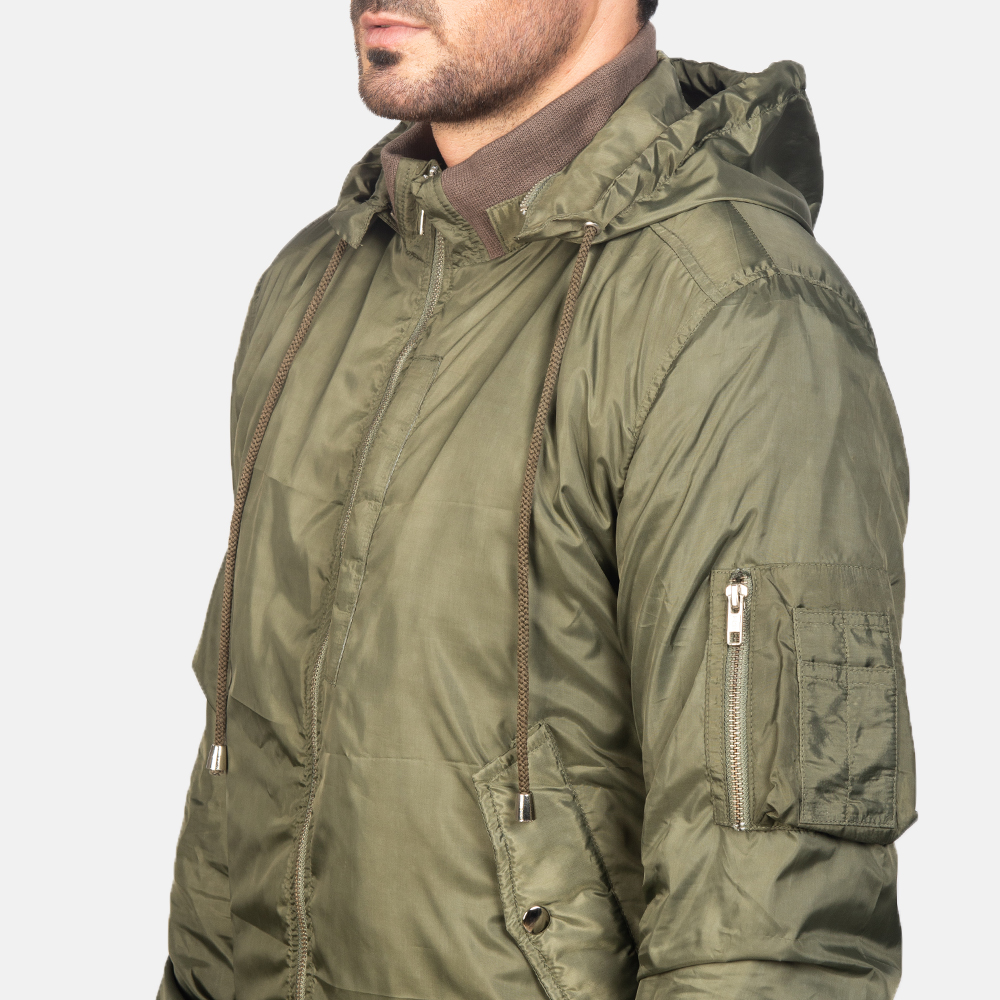 Men's Green Hooded Bomber Jacket 6
