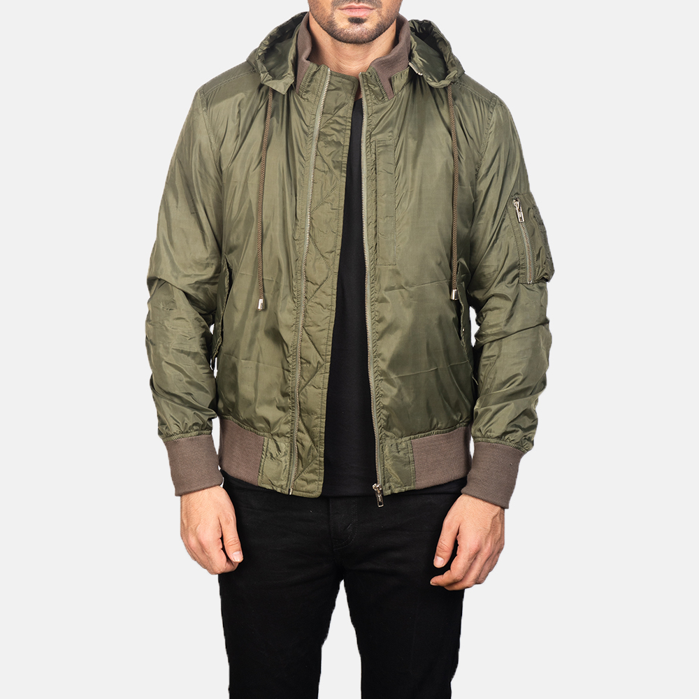 Men's Green Hooded Bomber Jacket 3