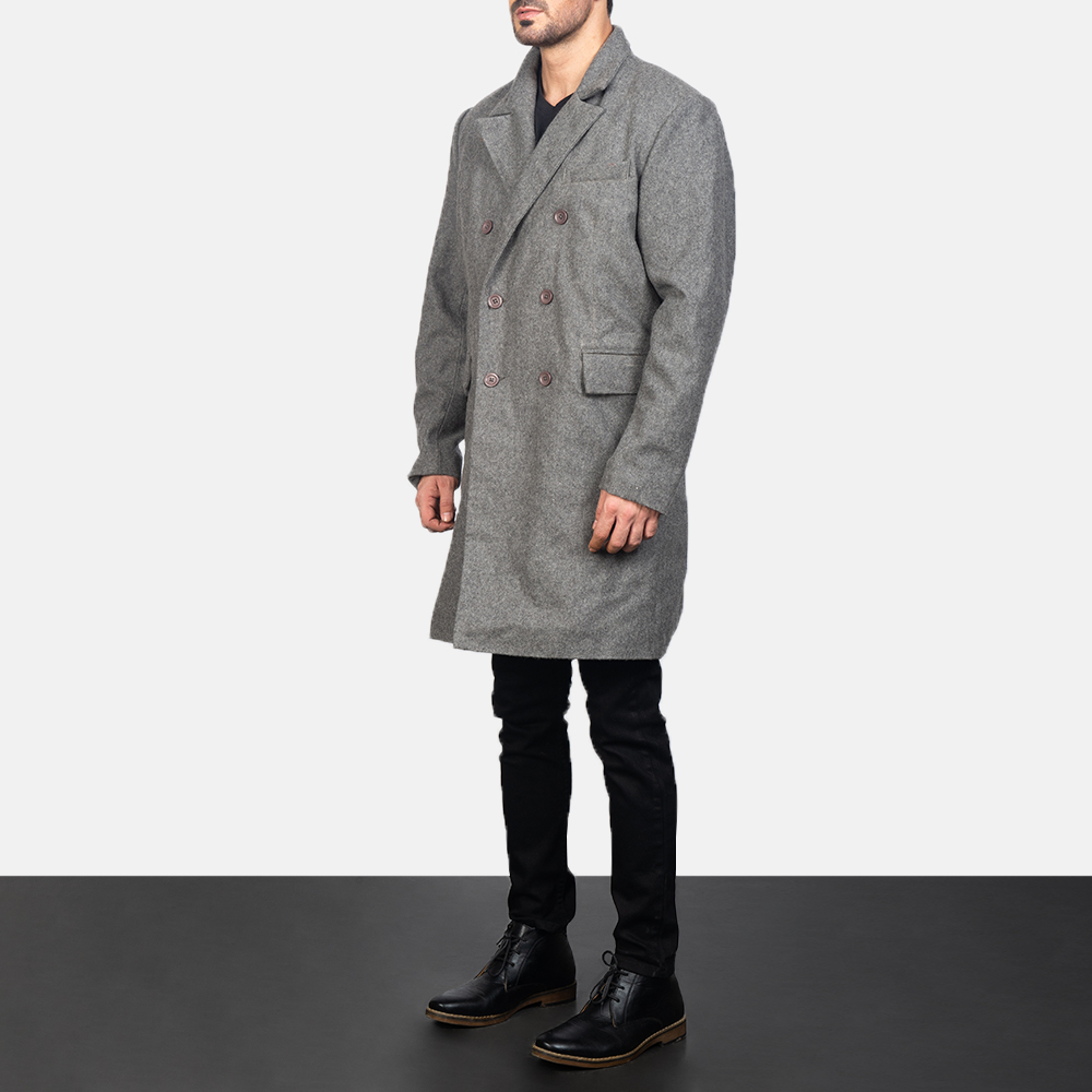 Men's Claud Grey Wool Double Breasted Coat 2