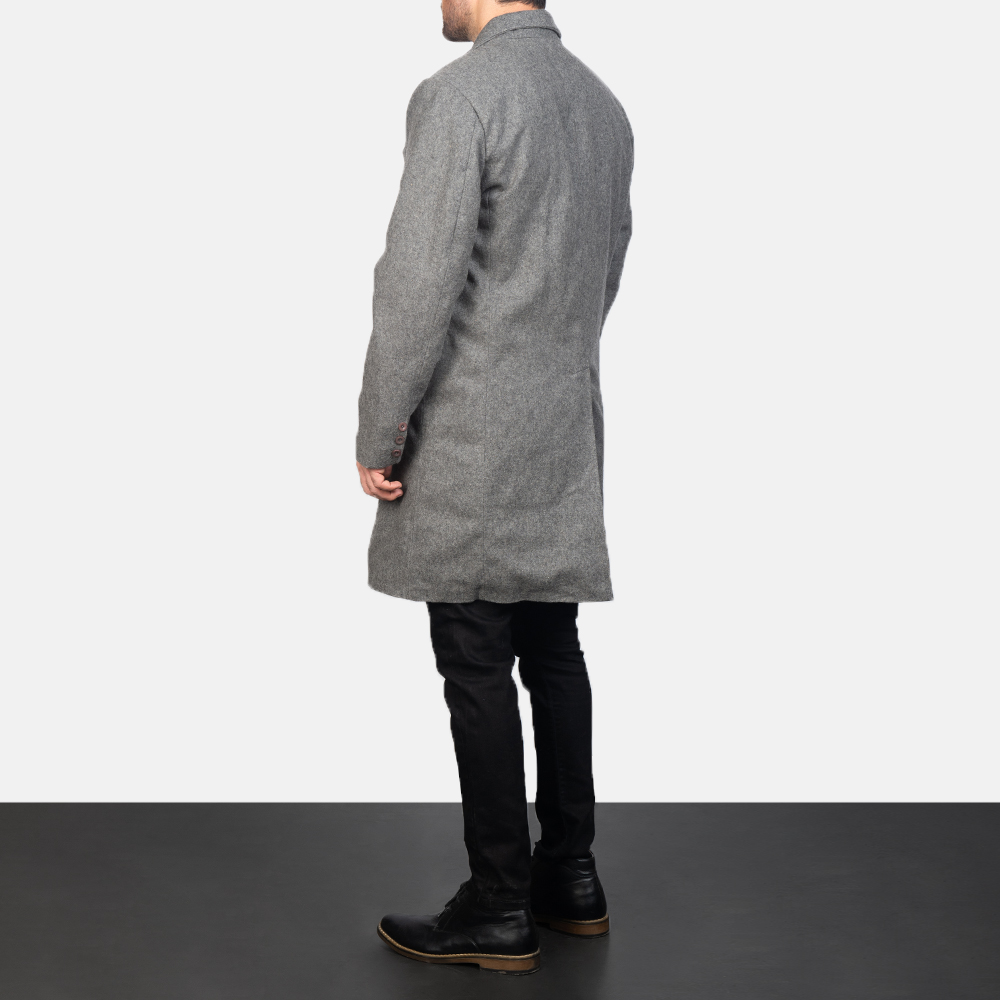 Men's Claud Grey Wool Double Breasted Coat 5
