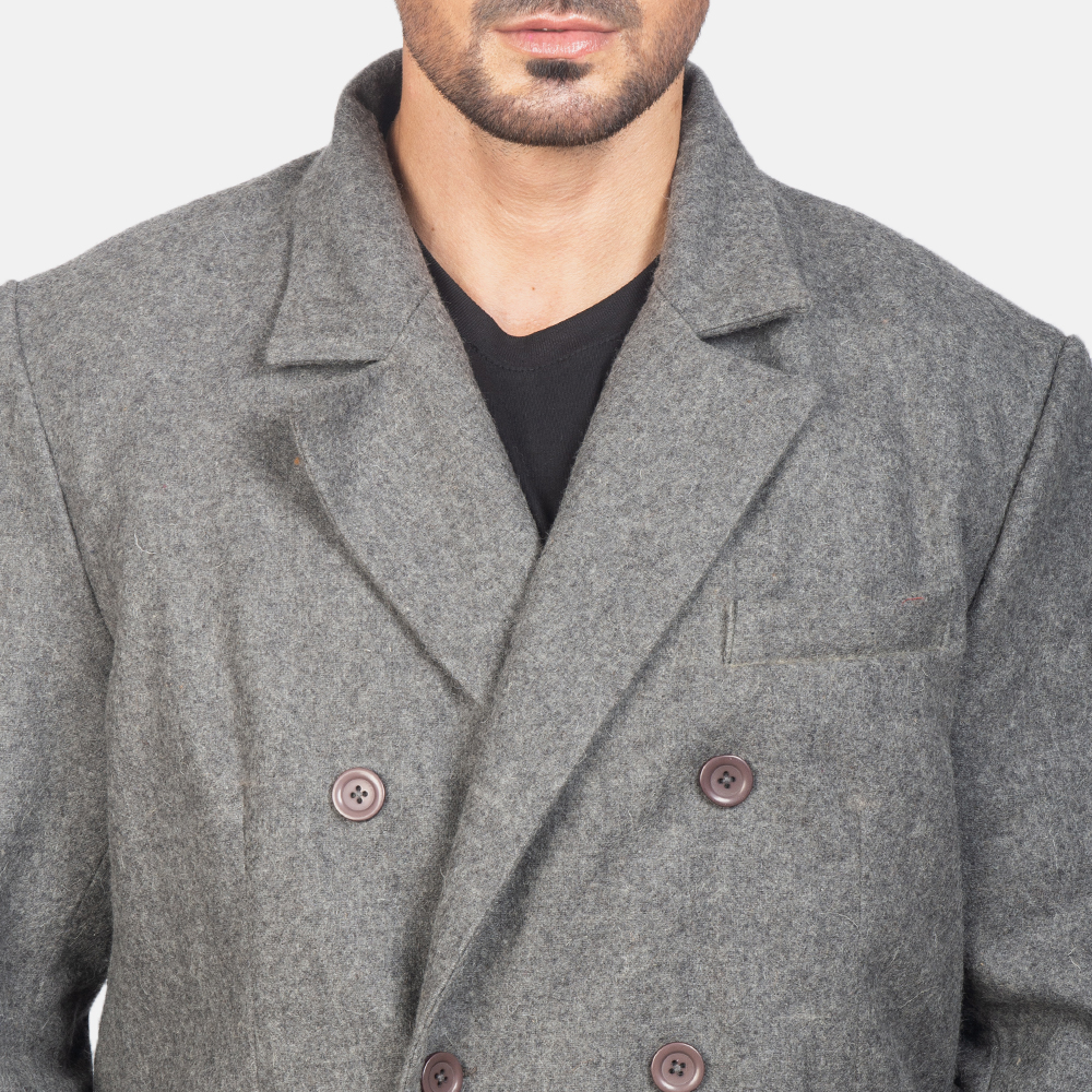 Men's Claud Grey Wool Double Breasted Coat 6