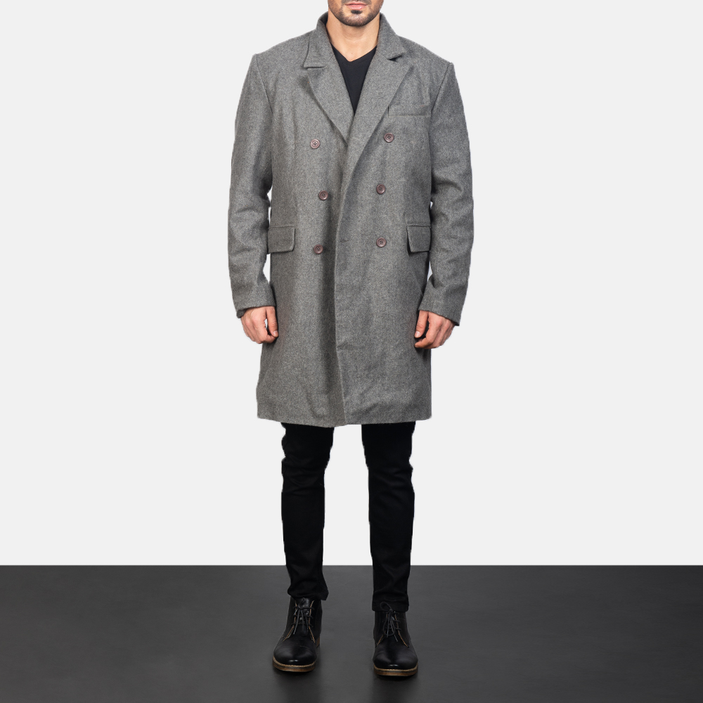 Men's Claud Grey Wool Double Breasted Coat 3