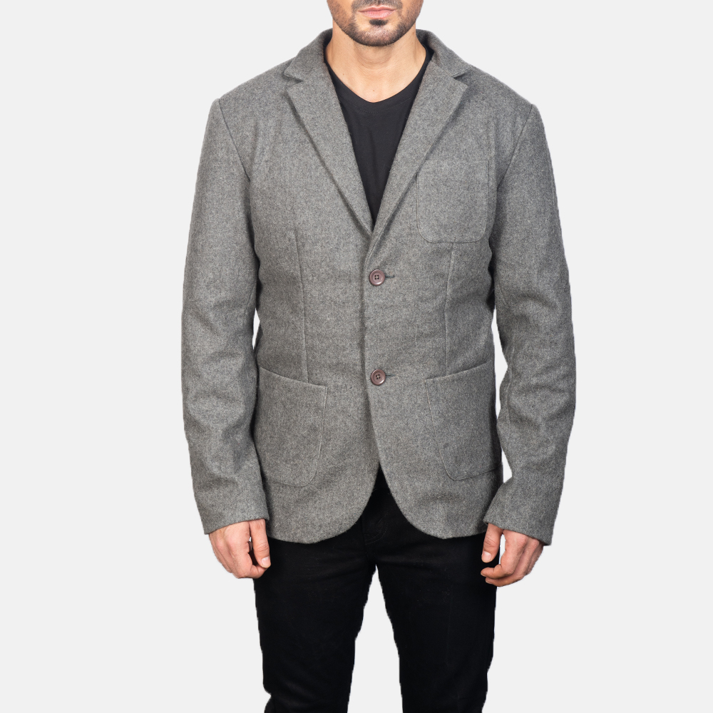 Men's Grey Wool Blazer 4